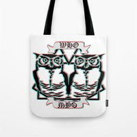the who Tote Bags featuring Who by VirgoSpice