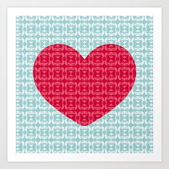 Damask heart Art Print