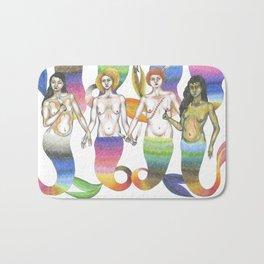 group of mermaids holding knives II Bath Mat