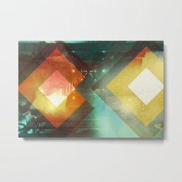 Seventies Orange Abstract Techno Triangles Metal Print