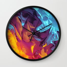 Surfing Europa. Dynamic Yellow, Orange and Blue Abstract. Wall Clock