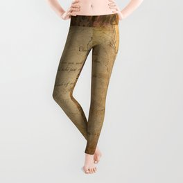 Two Hearts are One - Vintage Romantic Steampunk Art Leggings