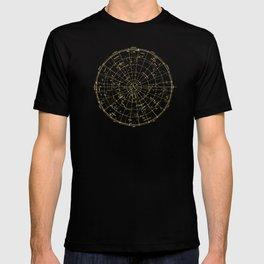 Metallic Gold Vintage Star Map 2 T-shirt