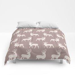Mid Century Modern Deer Pattern Beige Comforters