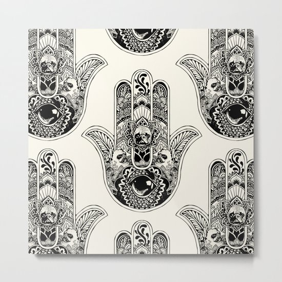 Hamsa Hand French Bulldog Metal Print