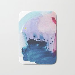 PYT: a minimal abstract mixed media piece on canvas in blues, pink, purple, and white Bath Mat