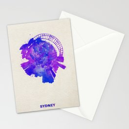 Sydney, Australia Colorful Skyround / Skyline Watercolor Painting Stationery Cards