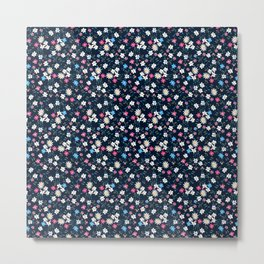 colored tiny floral, drawing ditsy flowers Metal Print