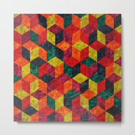 Colorful Isometric Cubes IV Metal Print