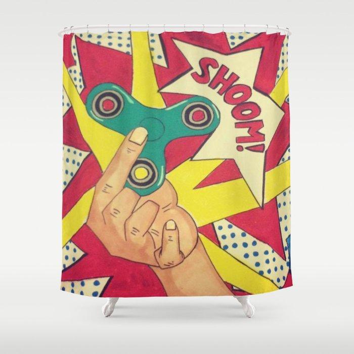 Lichtenstein Fidget Spinner Shower Curtain