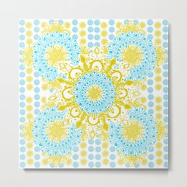 Sky Blue and Gold Mandala Patterned Textile Piece Metal Print