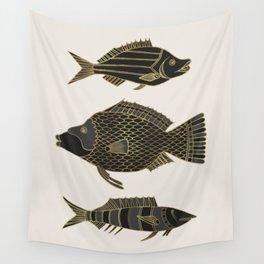 Fantastical Fish 2 - Black and Gold Wall Tapestry