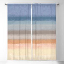 Abstract Horizon geometric art, Calm Beach_ oil painting brush strokes Blackout Curtain