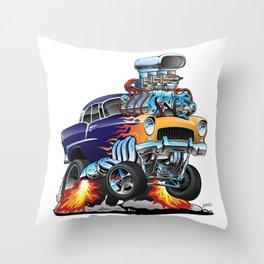 Classic Fifties Hot Rod Muscle Car Cartoon Throw Pillow