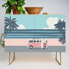 Surfer Graphic Beach Palm-Tree Camper-Van Art Credenza