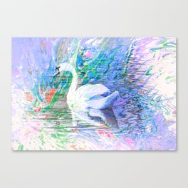 """Graceful Swan"" - Fluid Art Canvas Print"