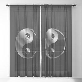 Ying yang the symbol of harmony and balance- good and evil Sheer Curtain