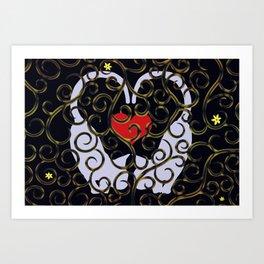 "KARAKUSA CAT'S ""LOVE"" Art Print"