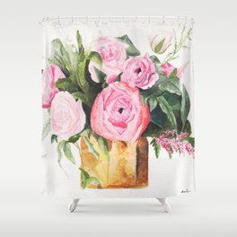 Heather's Arrangement Watercolor Painting Shower Curtain