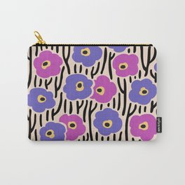 Mid Century Modern Wild Flowers Pattern Pink and Purple Carry-All Pouch