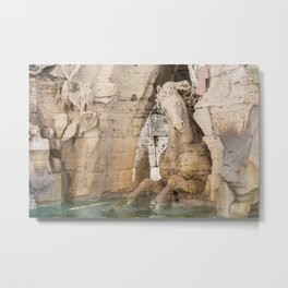 Sculpture of a horse from Fountain of the Four Rivers by Bernini in Piazza Navona in Rome, Italy. Metal Print