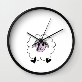 Hand drawing of a funny looking sheep Wall Clock