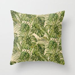 Vacation Vibes- Tropical in Green Throw Pillow
