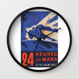 Le Mans 1955, 24hs Le Mans, 1955, original, vintage poster Wall Clock