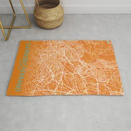 Clermont-Ferrand, Gold, Blue, City, Map Rug
