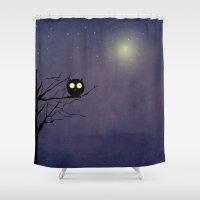 obama Shower Curtains featuring Night Owl ~~ by Irmak Berktas