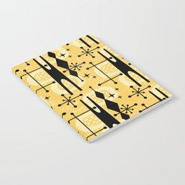 Retro Atomic Mid Century Pattern 771 Yellow Notebook
