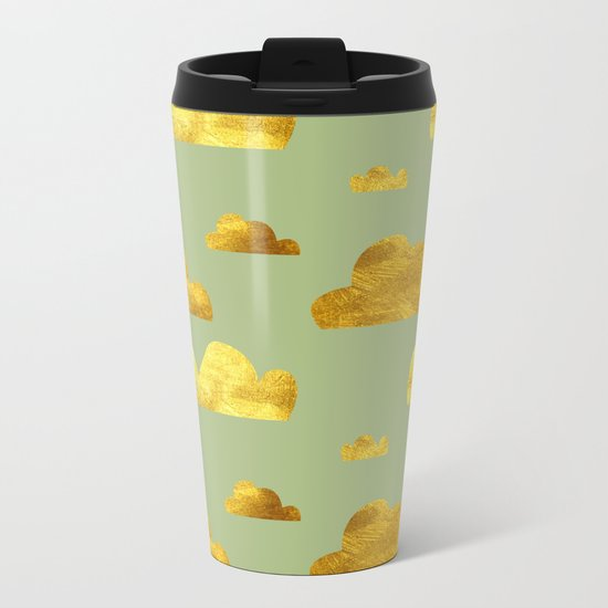 Gold Clouds green Metal Travel Mug