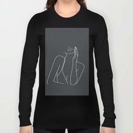 Minimal Line Art of a Woman Long Sleeve T-shirt