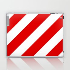 Stripes Diagonal Red & White Laptop & iPad Skin