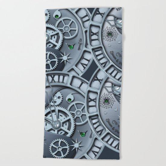 Steampunk clock silver Beach Towel
