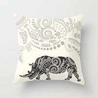 rhino Throw Pillows featuring Rhino by famenxt