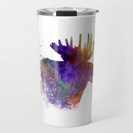 Moose 06 in watercolor Travel Mug