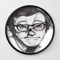 woody allen Wall Clocks featuring Woody Allen by Paul Nelson-Esch Art