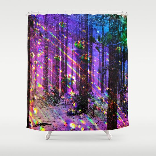 christmas lights shower curtain by haroulita society6. Black Bedroom Furniture Sets. Home Design Ideas
