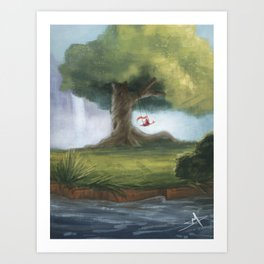 Swinging under a big tree Art Print