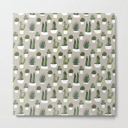 Watercolour cacti & succulents - Beige Metal Print