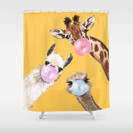 Bubble Gum Gang in Yellow Shower Curtain