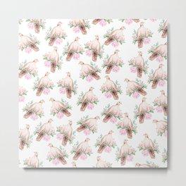 Hand painted modern pink brown watercolor peonies dove pattern Metal Print