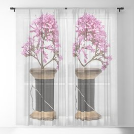 Wooden Vase Sheer Curtain
