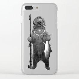 Harpoon Fishing Bear Clear iPhone Case
