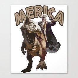 George Washington Riding a Tyrannosaurus Rex Canvas Print