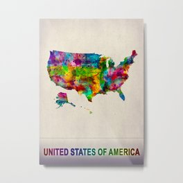 USA Map in Watercolor Metal Print