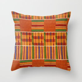 Ethnic African Kente Cloth Pattern Throw Pillow