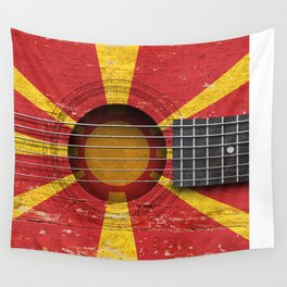 Old Vintage Acoustic Guitar with Macedonian Flag Wall Tapestry