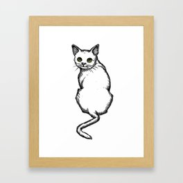 Cat With Green Eyes, Outline Drawing Framed Art Print